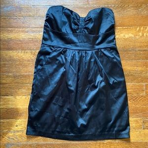 Black Satin Strapless Dress